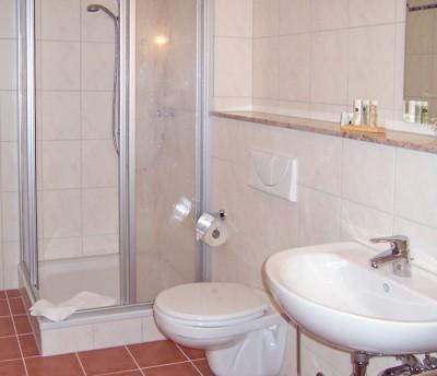 Hotel Neumanns Dampfschiff: Badezimmer mit mit Dusche, WC, Haarfön