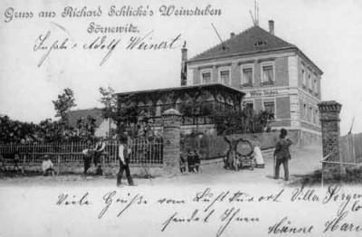 historische postkarte - richard schlickes weinstuben - heute neumanns dampfschiff