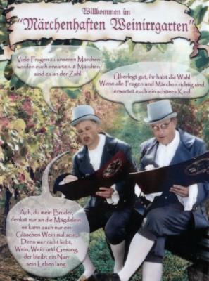 Willkommen im Märchenhaften Weinlabyrinth - Porzellanzplatte am Eingang