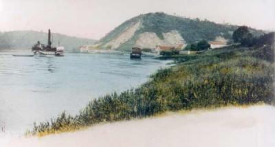 historisches bild von sörnewitz mit dampferanlegestelle, bosel und dampfschiff